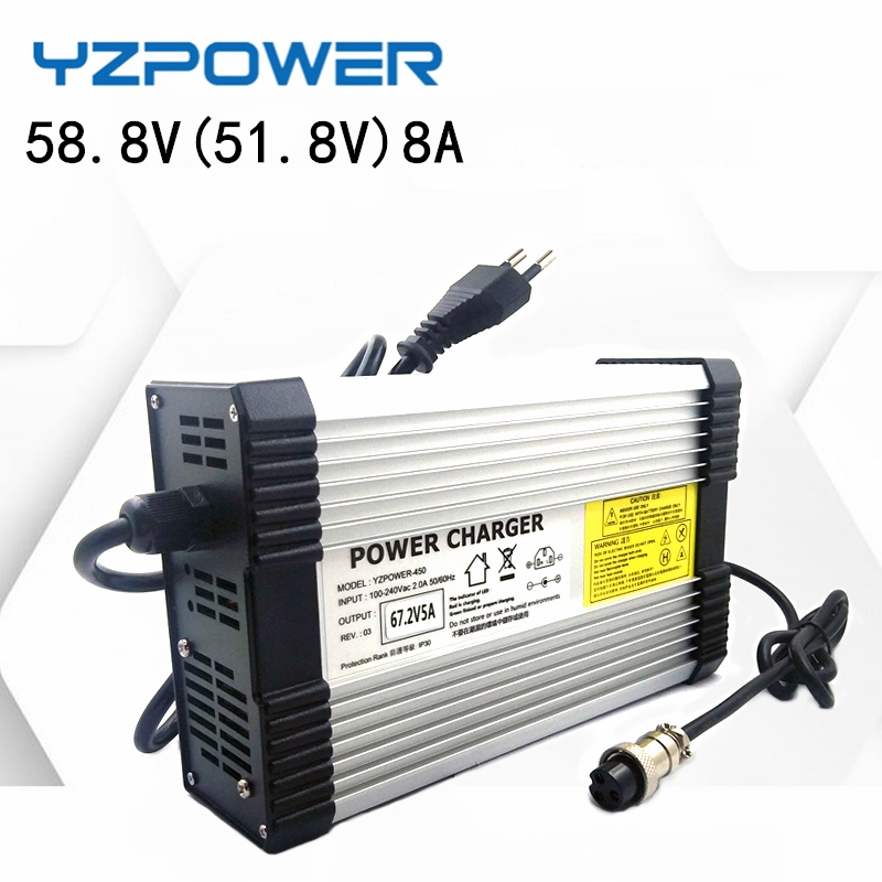 YZPOWER 58 8V 8A Lithium Battery Charger for 14S 48V 51 8V-52V Lithium Battery Electric Motorcycle Ebikes with Fan Smart charger