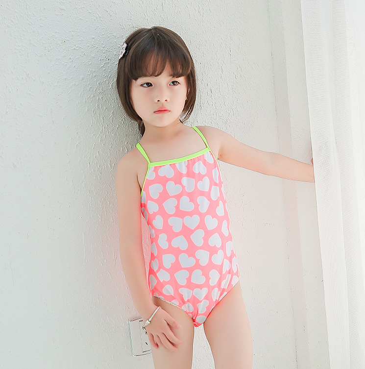 Special Offer Big Boy GIRL'S Students Pink Heart Cute Sweet Spa Resort One-piece Swimwear