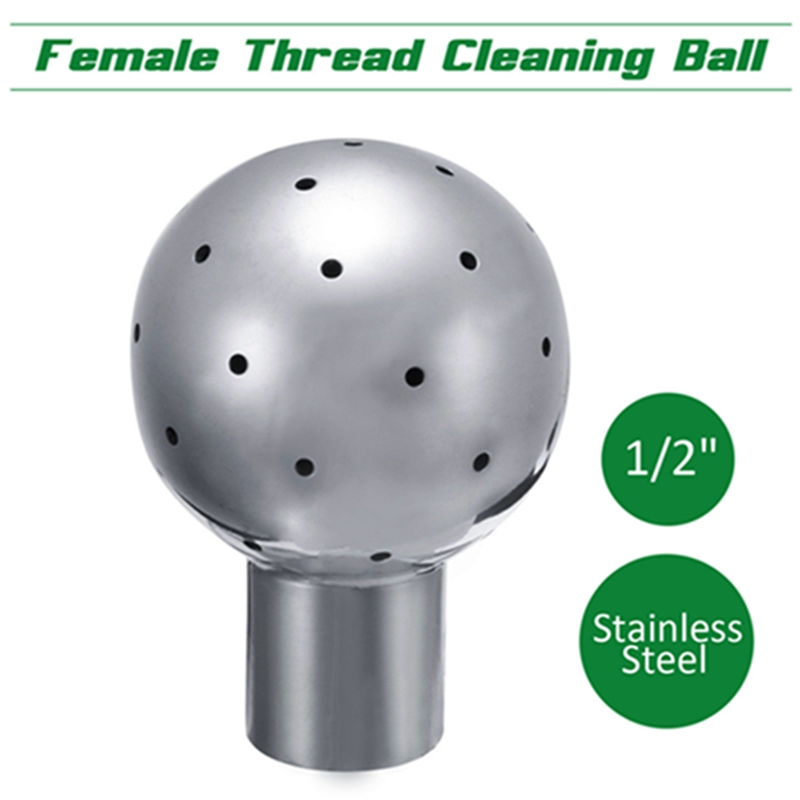 1/2 Inch Female Spray Cleaning Ball Stainless Steel Thread Fixed Spray Ball  360 Degree Coverage Effective Rotary Cleaning Ball