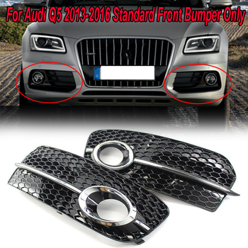 цена на MagicKit Fog light Cover grille For Audi Q5(8R) MK1 2013-2015 Facelift Fog Lamp Box Grille ABS Front Lower Bumper lamp grille