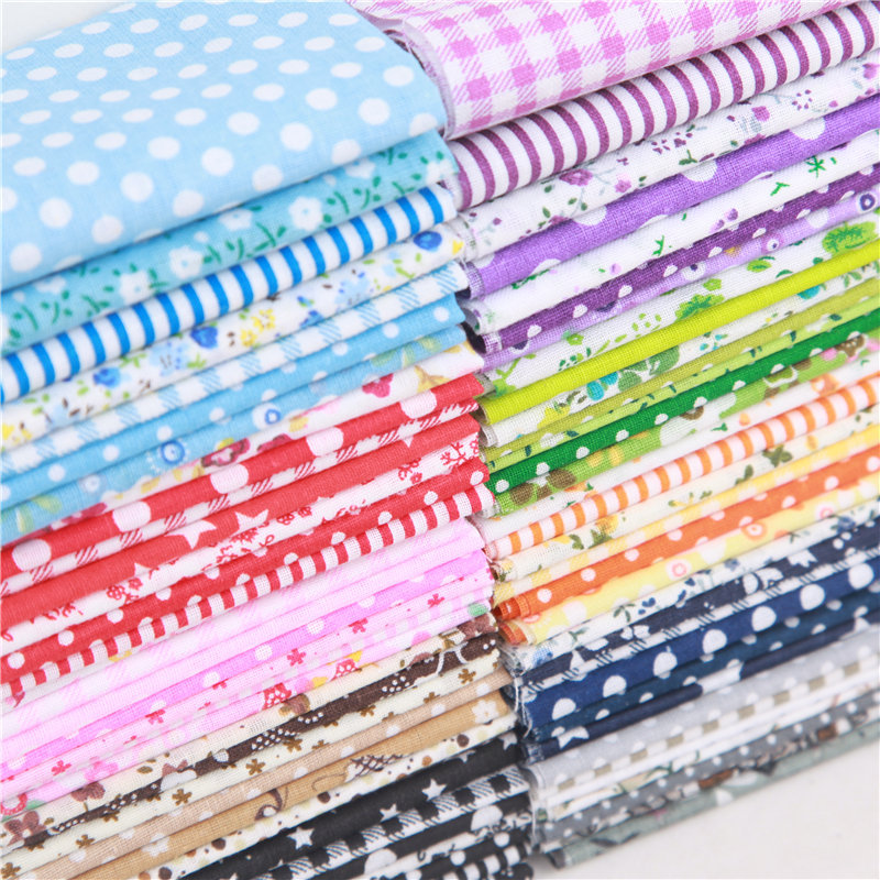 7pcs/set Square Cotton Fabric Printed Cloth Sewing Quilting Fabrics For Patchwork DIY 100% Cotton Casual Plant Printed