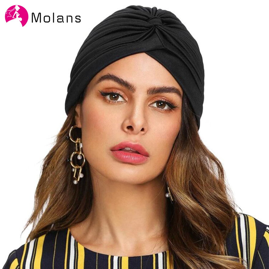 Molans Women Turban Hat Hijab 2020 New Spring Black White Head Wrap Femme Musulman Headband