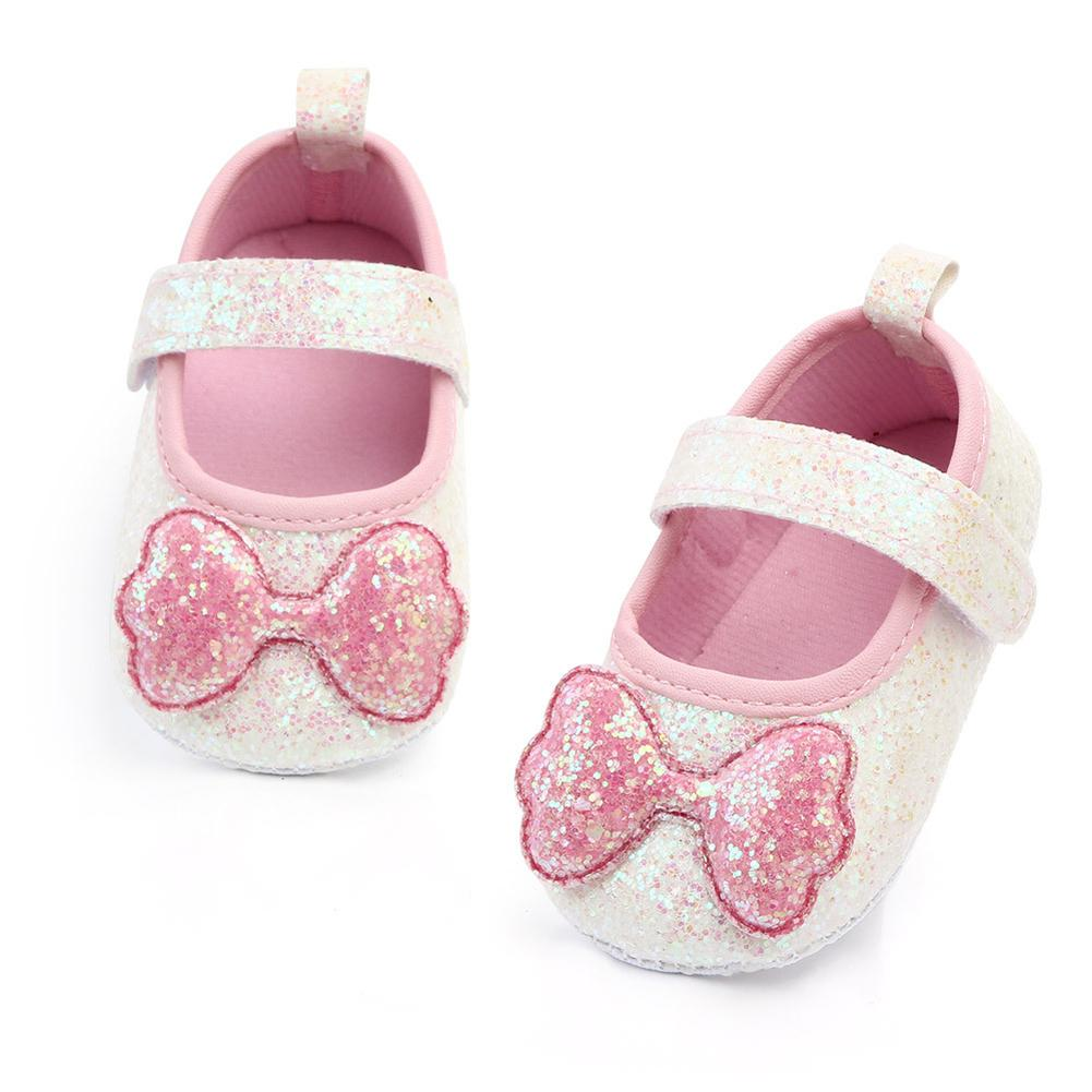 Baby Girl Shoes Solid Color Sequins Bowknot Anti Slip Flat Princess Shoes Prewalker Sneakers Baby First Walkers Shoes For Girls