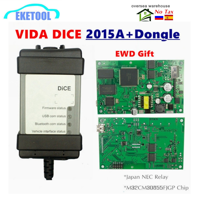New 2015A Dongle 1999-2019 For VOLVO VIDA DICE 2014D Full Chip Multi-Language Green PCB Origianal Chips EWD Gift