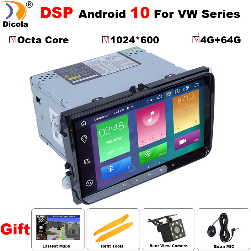 Octa Core 4G+64G HD IPS DSP android 10 car dvd for vw <font><b>passat</b></font> b5 <font><b>b6</b></font> golf 4 5 tiguan polo skoda octavia rapid car radio player image