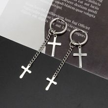 Gothic Stainless Steel Cross Feather Star Leaf Chain Dangle Drop Hoop Earrings H8WF все цены