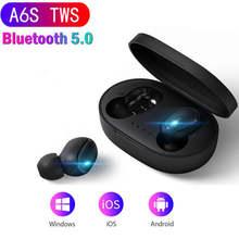 A6S TWS Bluetooth 5.0 이어폰 소음 Xiaomi Redmi Airdots 무선 이어 버드 용 마이크 핸즈프리 이어 버드가있는 fone 헤드셋 취소