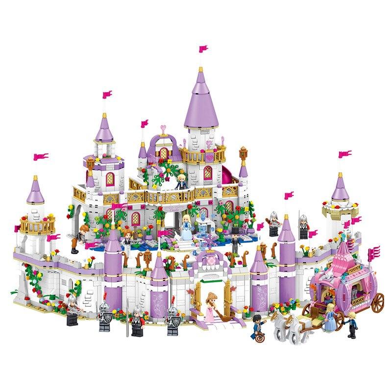 731 шт. для девочек друзья принцесса Небесно замка принцессы для девочек, платье Золушки, королевская модель кареты строительные блоки компл...