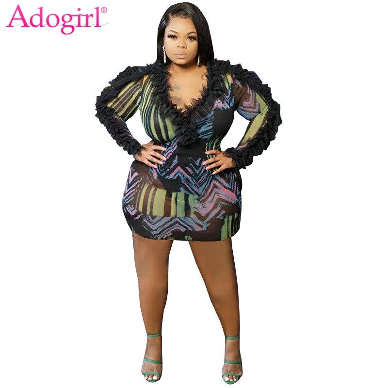 Adogirl Fashion Print Ruffle Sheer Mesh Plus Size Women Dress Sexy Deep V Neck Long Sleeve Bodycon Mini Night Club Party Dresses