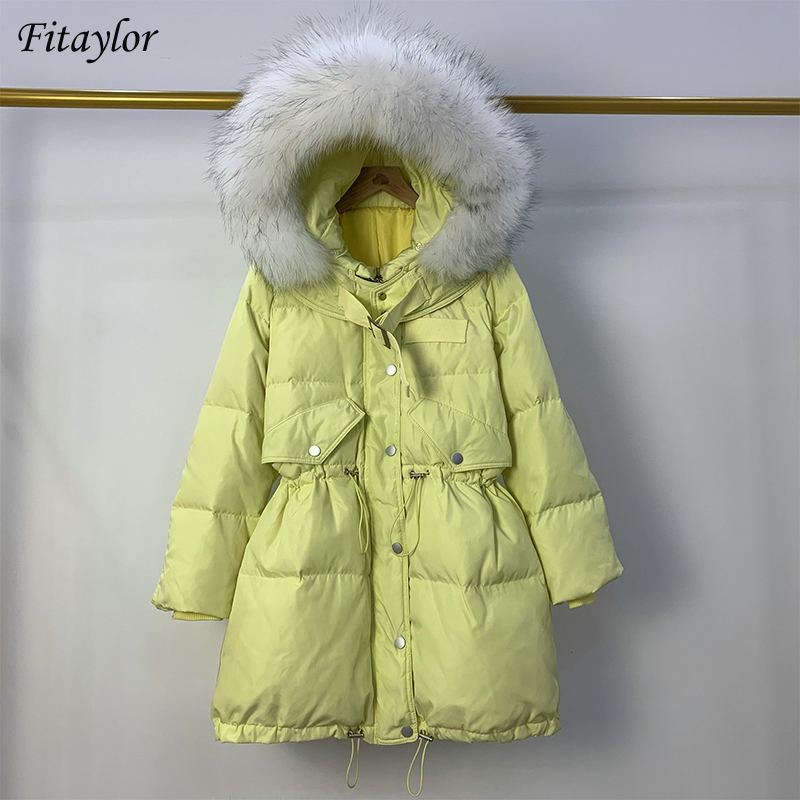 Fitaylor Large Artificial White Fur Hooded Jacket Warm Snow Yellow Coat Winter Long Outwear Women White Duck Down Thick Parkas