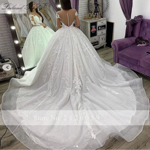Image 4 - Lceland Poppy Luxury Ball Gown Plus Size Wedding Dresses 2020 Scoop Neck Long Sleeves Cathedral Train Beaded Bridal Gowns