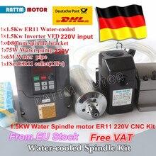 Двигатель шпинделя с водяным охлаждением 24000 кВт ER11/220 об/мин и инвертор кВт VFD в и 80 мм зажим и водяной насос 75 Вт/трубы с 1 комплектом цанг