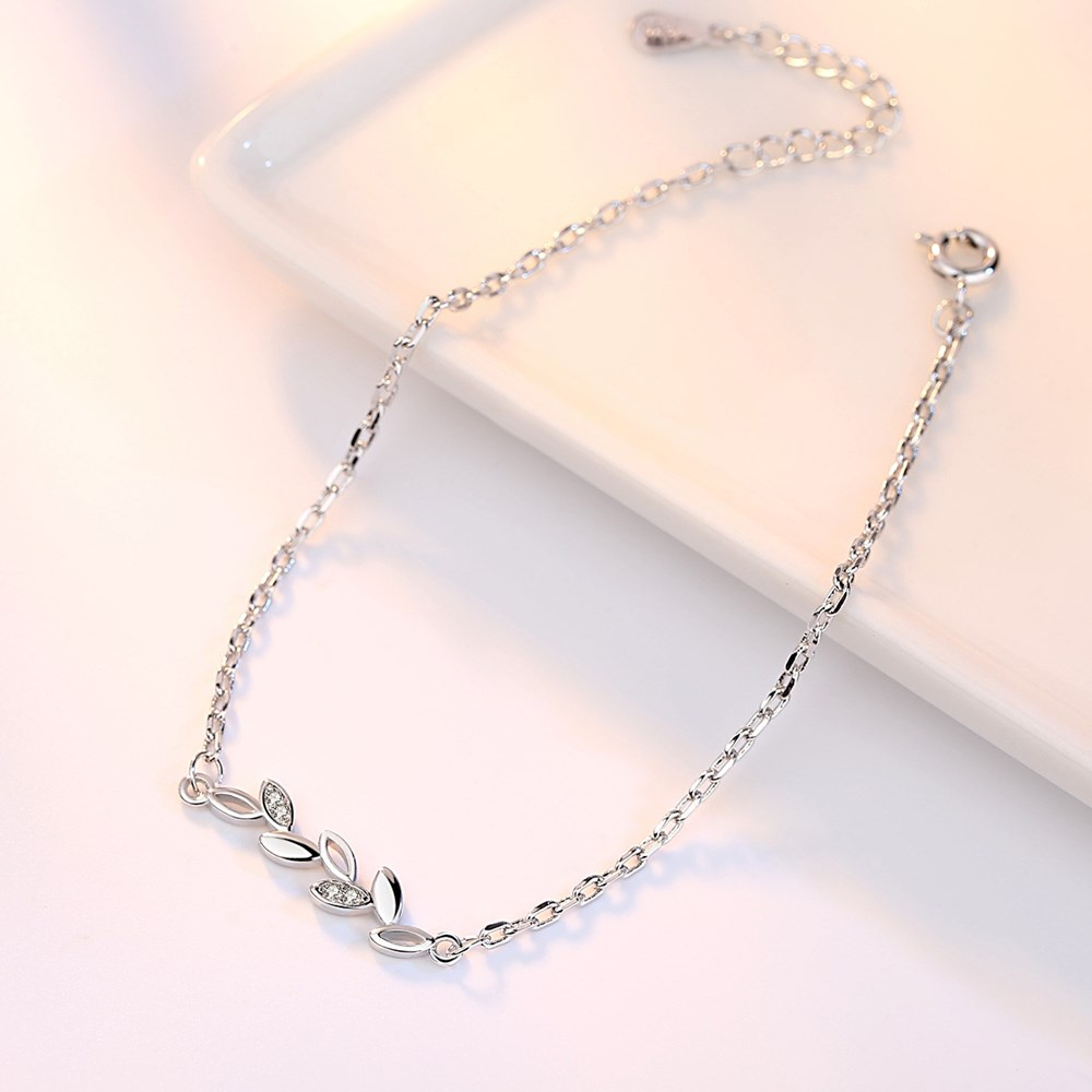 NEHZY 925 Stamp Sterling silver jewelry high quality fashion woman leaf cubic zirconia retro simple bracelet length 20CM