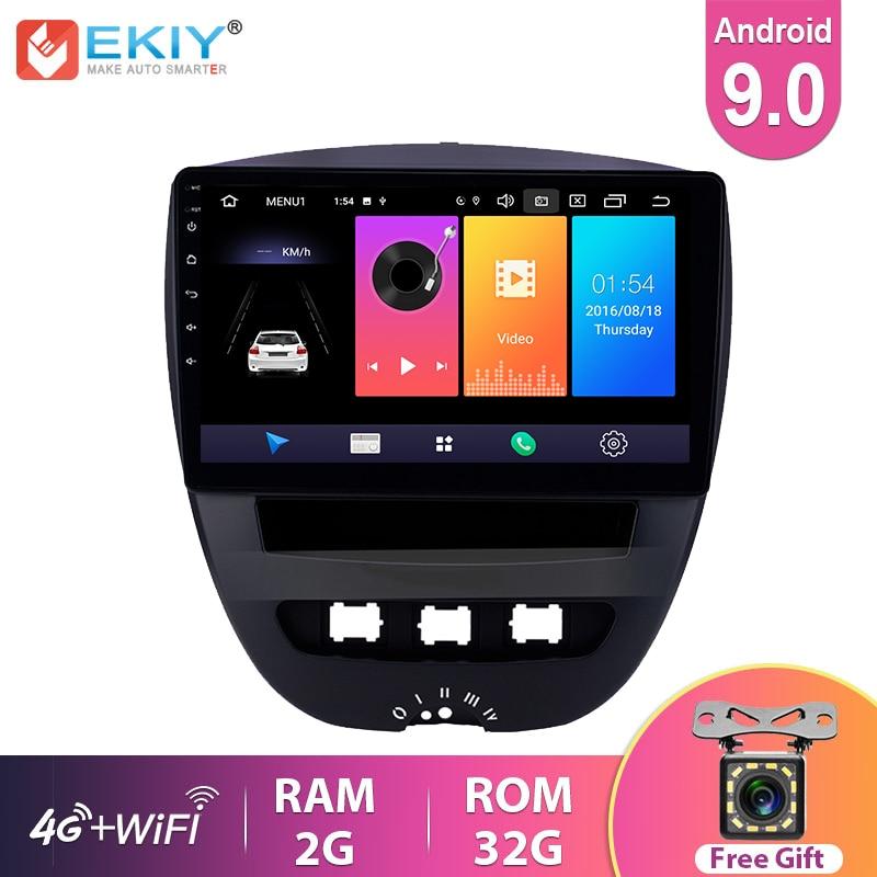 Ekiy rádio de carro ips, rádio automotivo com android 9.0, som estéreo, para peugeot 107 1, para toyota aygo, citroen c1 2005-14 navegação gps player multimídia
