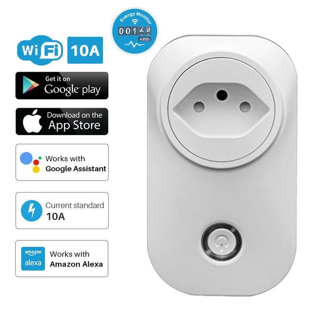 스마트 플러그 와이파이 소켓 브라질 표준 에너지 모니터 전원 콘센트 멀티 플러그 APP 제어 Alexa Google assistant와 함께 작동