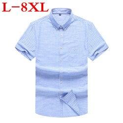 Nuevo de talla grande 8XL 7XL 6XL 5X nuevo verano de manga corta de rayas 100% de algodón de Color puro de negocios camisas formales de trabajo para hombres