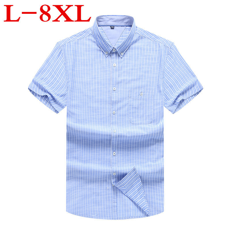 New Plus Size 8XL 7XL 6XL 5X New Summer Short Sleeve Striped 100%cotton Pure Color Business Dress Shirts Formal Work Shirts Men