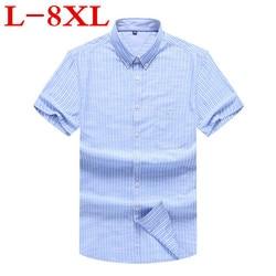 new Plus Size 8XL 7XL 6XL 5X New Summer Short Sleeve striped 100%cotton Pure Color Business Dress Shirts Formal Work Shirts Men