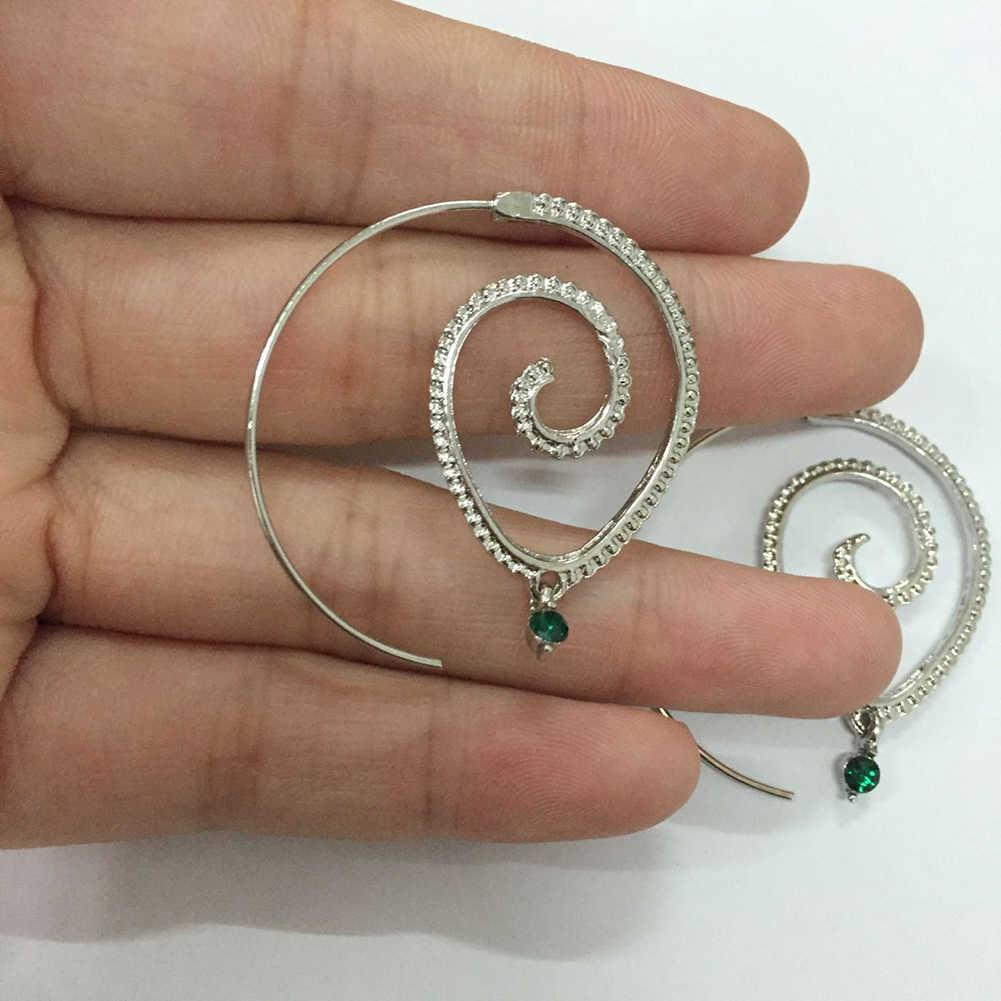 Diseño de Engranaje en espiral con incrustaciones de diamantes de imitación para mujer gota de agua espiral cuelga los pendientes del gancho del engranaje declaración joyería