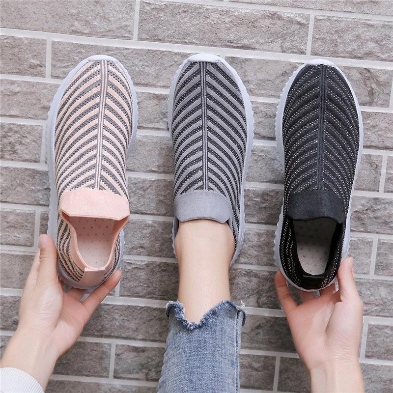 Women Striped Sneakers Spring Flat Rhinestone Slip On Women's Knitting Shoes Female Platfrom Shoes Ladies Vulcanized Plus Size