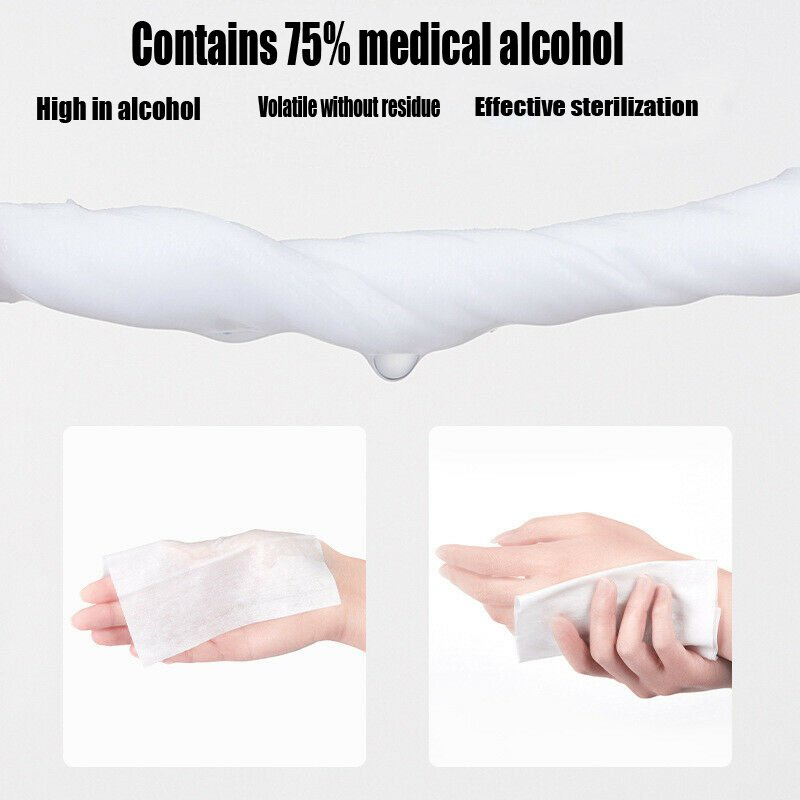 100PCS Portable Disinfection Antiseptic Pads Alcohol Swabs Wet Wipes Skin Cleaning Care Sterilization First Aid Cleaning Tissue 3