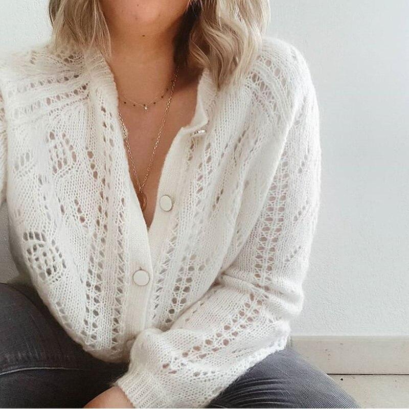 Mohair punto cárdigan suéter mujer 2019 otoño Simple suave recto inferior ropa suéter moda Cárdigan para mujer-in Caquetas de punto from Ropa de mujer    1