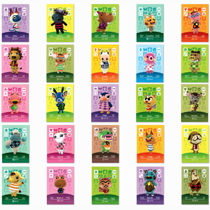 (226 To 250) Animal Crossing Card Amiibo Printed NFC Card Compatible Pick From The List