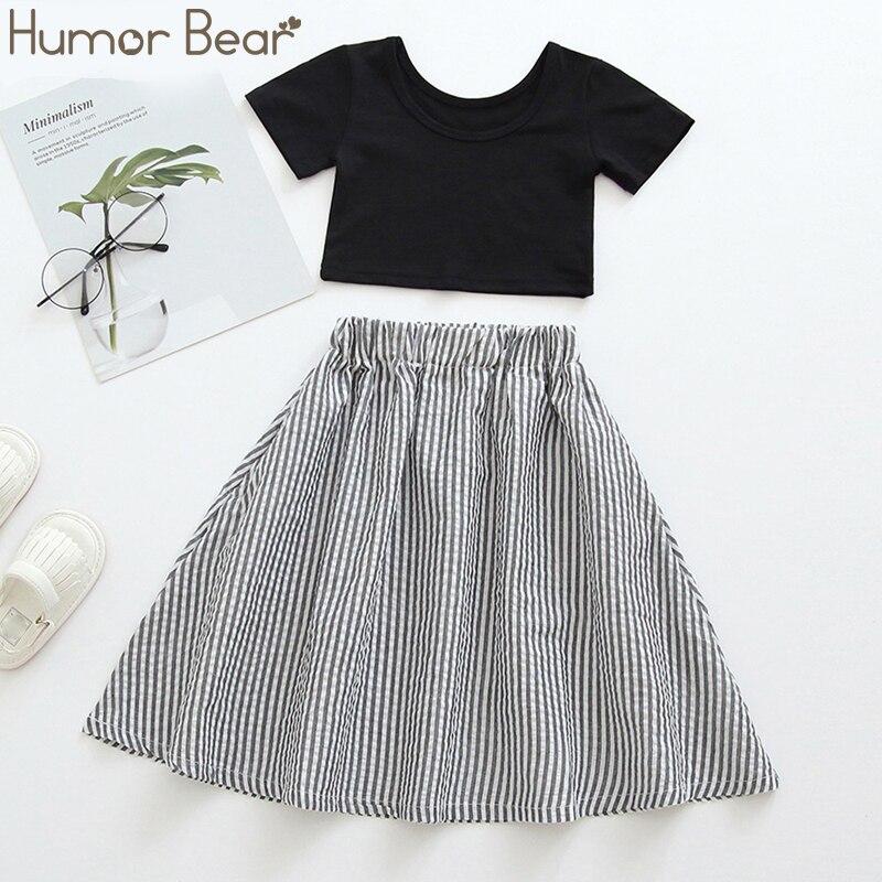 Humor Bear Summer New Kids Clothes For Girls 2Pcs Black Short T-Shirt+Stripe Long  Skirts Children Toddler Girls Clothing Sets