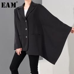 Женский Асимметричный Блейзер EAM, черный свободный пиджак с отложным воротником и длинным рукавом, большие размеры, весна-осень 2020, 1T60901
