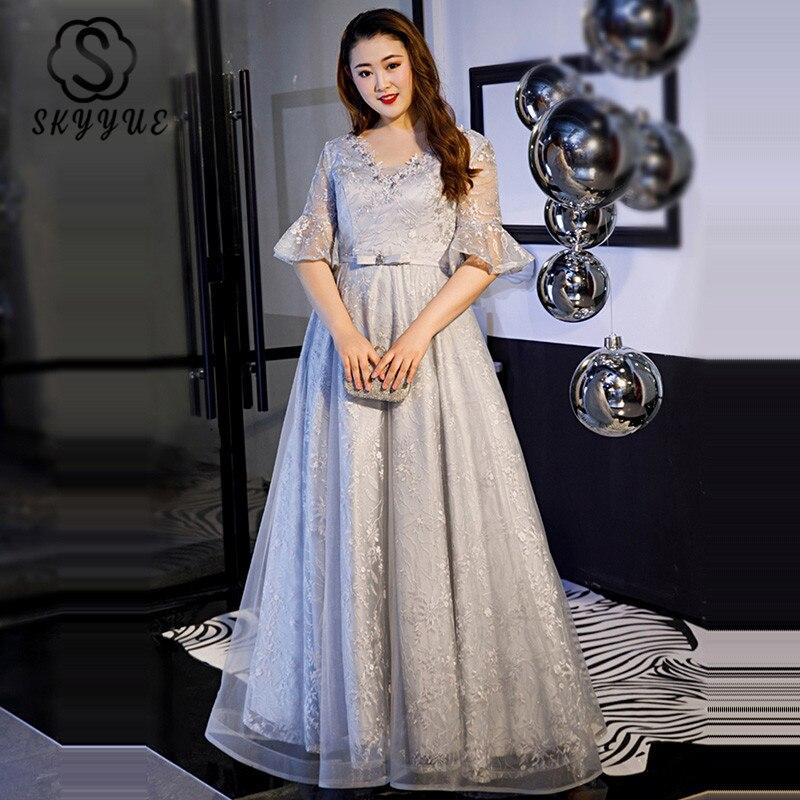 Skyyue сексуальное платье с v образным воротом, вечернее платье с цветами Для женщин Платья для вечеринок 2019 короткий рукав плюс Размеры Robe De