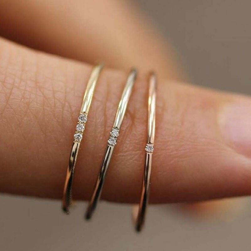 Gold Rings Paved Zircon Tarnish 316l-Stainless-Steel Minimalist Women 18k for One Two