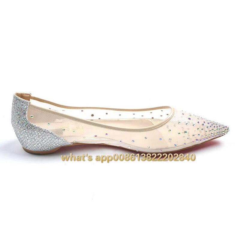 Top2019 Dwaasheden Strass Flats Vrouw Vrouwelijke Schoenen Mode Zachte Mesh Puntschoen Dress Party Sexy Ballet Kristal Lente Herfst - 2