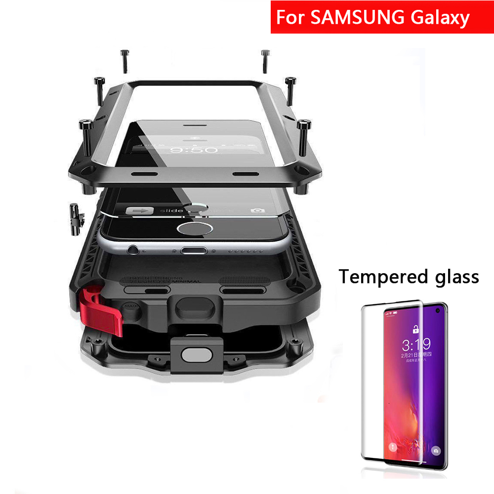 Tempered <font><b>glass</b></font> + Full Protective Luxury Metal <font><b>Case</b></font> For <font><b>Samsung</b></font> S7 <font><b>S8</b></font> S9 S10 Plus Note 8 Note 9 Note 10 plus Shockproof <font><b>Cover</b></font> image