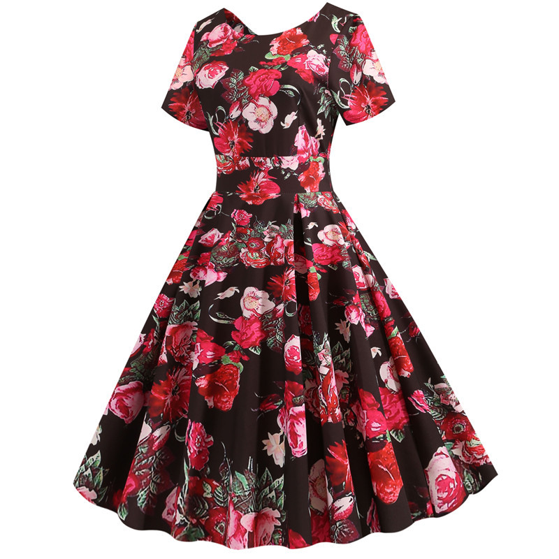 Summer Floral Print Elegant A-line Party Dress Women Slim White Short Sleeve Swing Pin up Vintage Dresses Plus Size Robe Femme 276