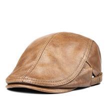 Bonnet de rua masculino boina de couro genuíno chapéus finos 55-61 cm ajustável para a frente boné lazer duckbill casquette