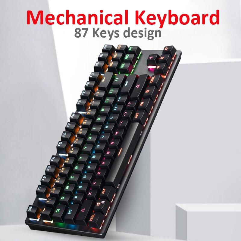 Игровая механическая клавиатура проводная игровая с 87 клавишами