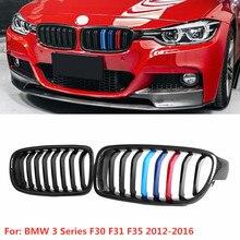 2x F30 פגוש קדמי גריל עבור BMW 3 סדרת F30 F31 F35 2012 2016 כליות גריל גריל מבריק שחור פחמן סיבי & ABS רכב סטיילינג