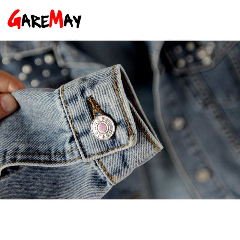 GareMay ヴィンテージ真珠ビーズショートデニムジャケット女性ブルー洗浄長袖カジュアルジーンズジャケット爆撃機デニムコートプラスサイズ