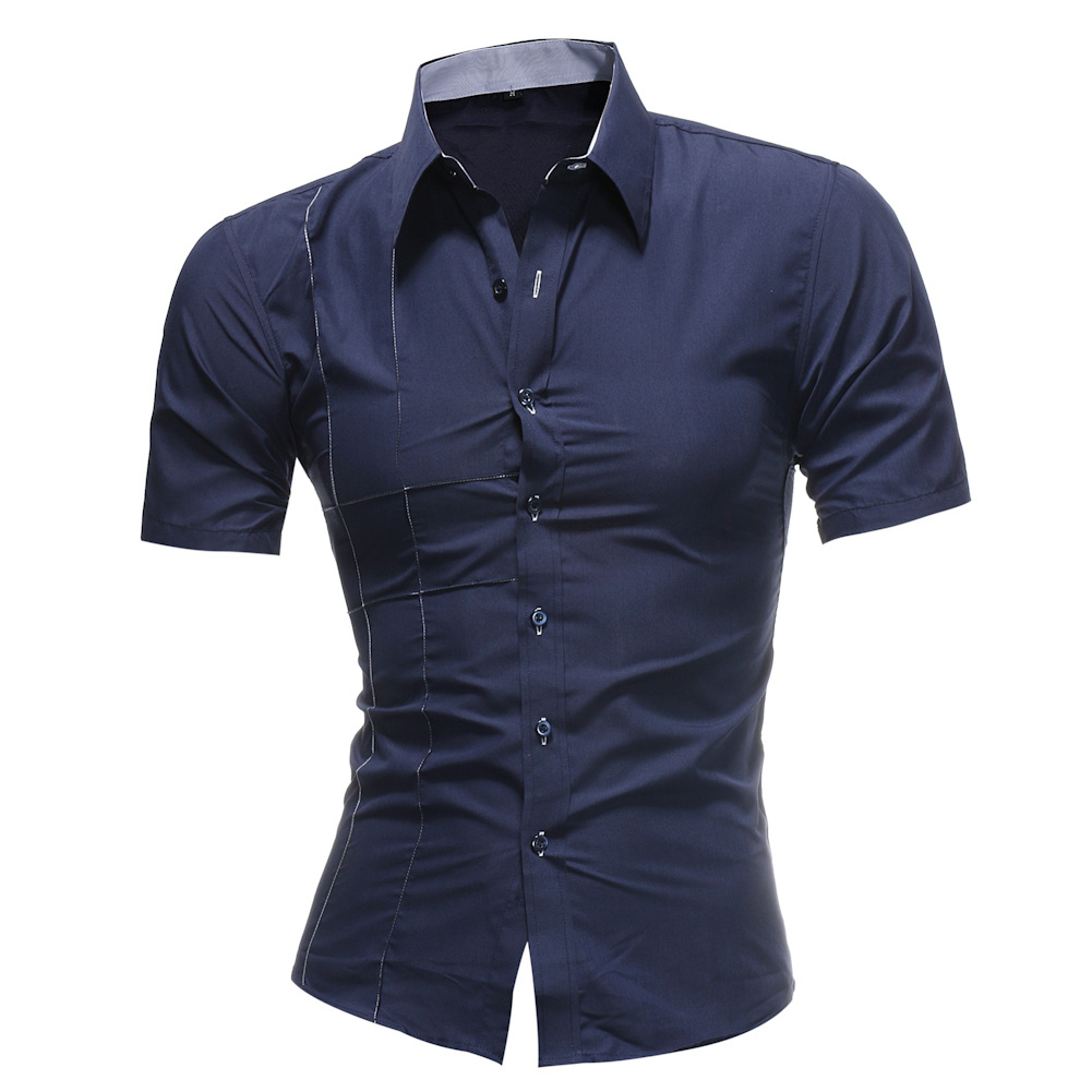 AliExpress New Men Embroidered Short Sleeve Solid Color Shirt Special Offer Amount Of Running Da62