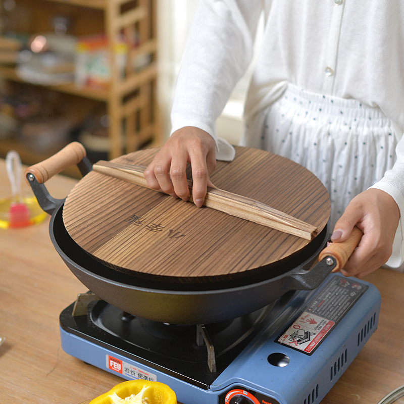 Wooden Handle Thickened Double Ear Cast Iron Old Round Bottom Iron Pot Household Uncoated Non Stick Stew Pan Wood Glass Cover