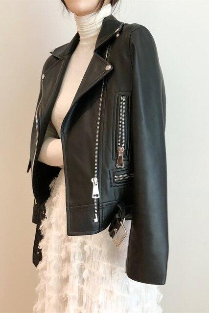 FTLZZ New Autumn Women Pu Leather Jacket Woman Zipper Belt Short Coat Female Faux Leather Black Motorcycle Outwear Biker Jacket 5