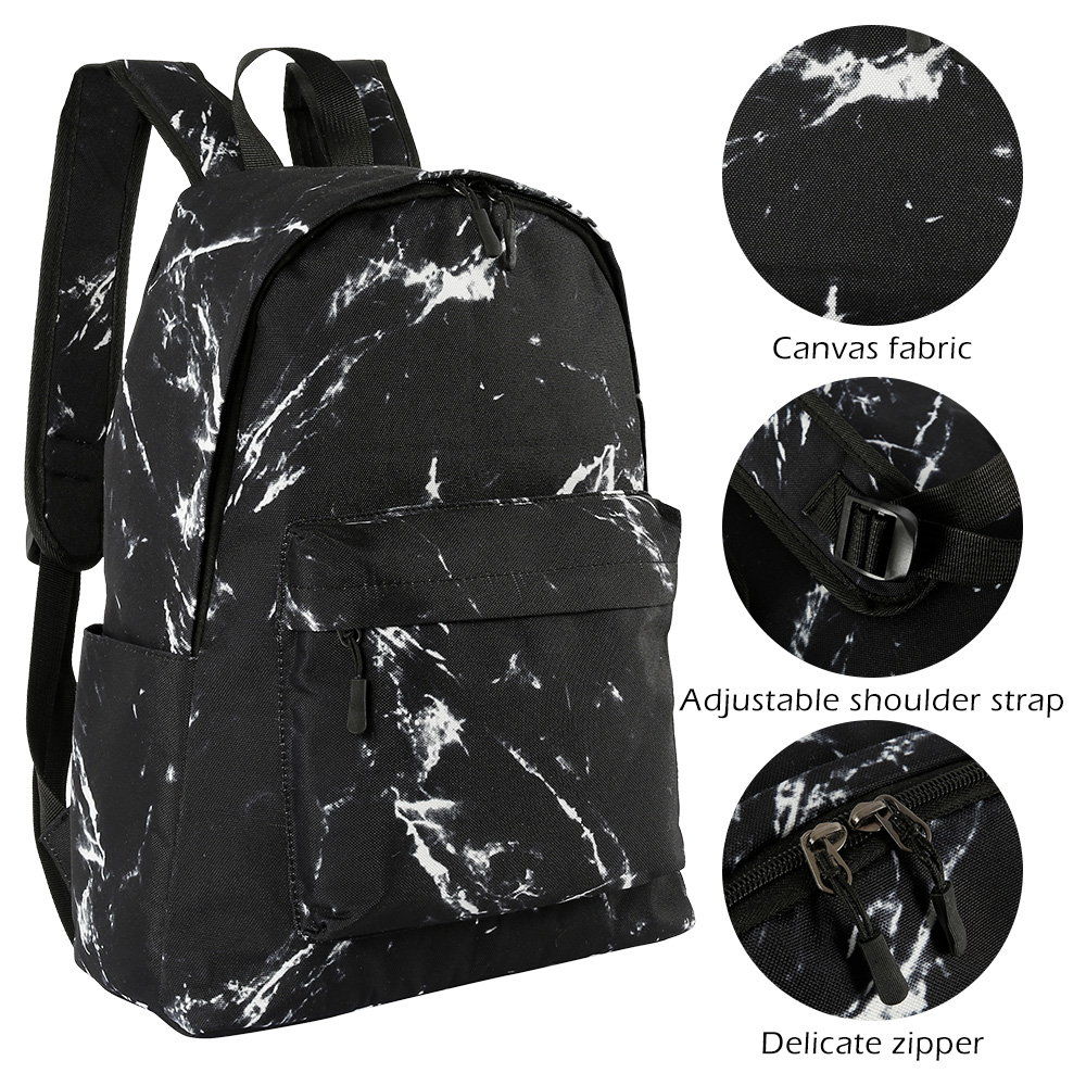 Fashion Teenager Backpack Boys Girls Marble Stone Print Backpack Rucksack Canvas Shoulder School Backpack Mochila Feminina on AliExpress