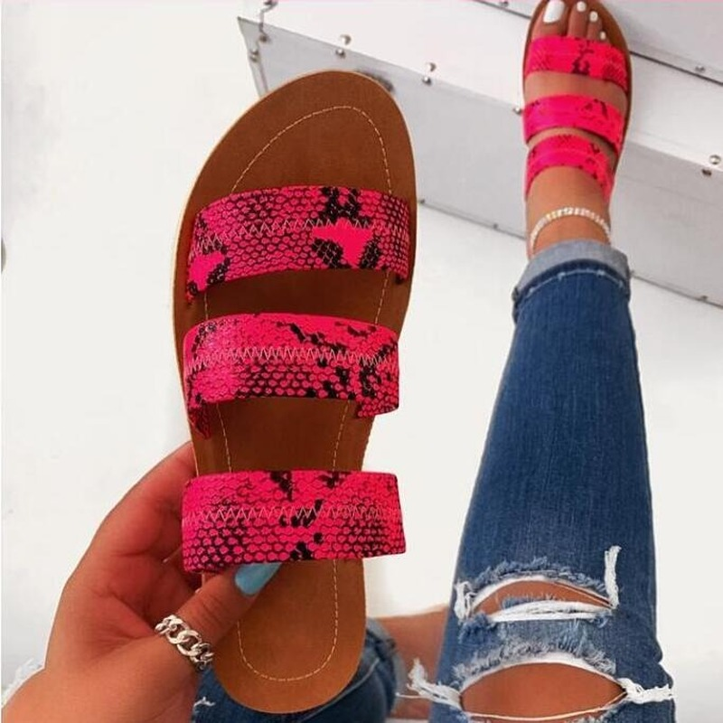 Rosy Snakeskin Slipper Three-layer Non-slip Outdoor Slippers 2020 Women Fashion Wild Beach Shoes Sandals Bottom Ladies Slippers