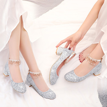 Fashion Crystal Chain Fringe Low Medium Chunky Block Ladies Shoes Silver Gold Women Heels Bling Party Princess Pumps