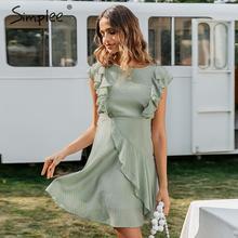 Simplee フリル o ネック半袖夏ドレス女性ノースリーブカジュアル A ライン女性のドレスハイウエストストライプの女性ミニドレス 2020