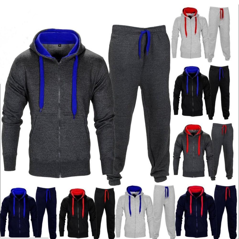 2PCS Hooded Winter Tracksuits Men Set Warm Vest Hoodies Pants Suit Zipper Sportswear Set Mens Jogger Hoodie Sporting Suits