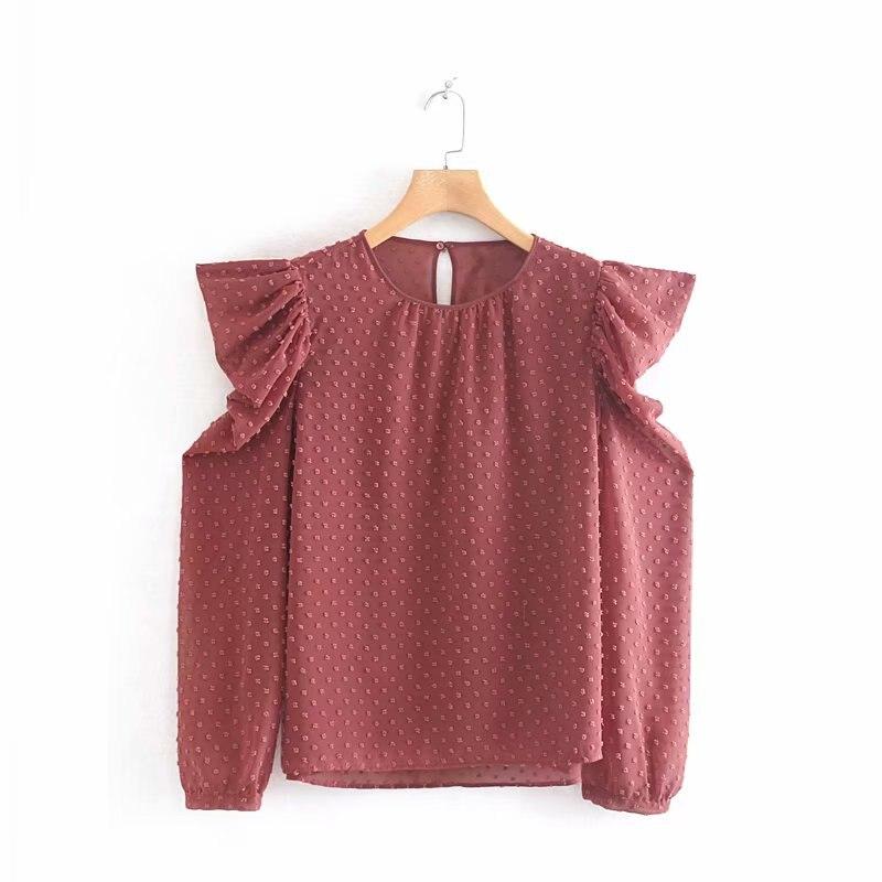 Novas mulheres elegante teste padrão de pontos chiffon casual Shirts blusas chic mulheres pregas sopro roupas de manga o pescoço camisa chemise LS4165