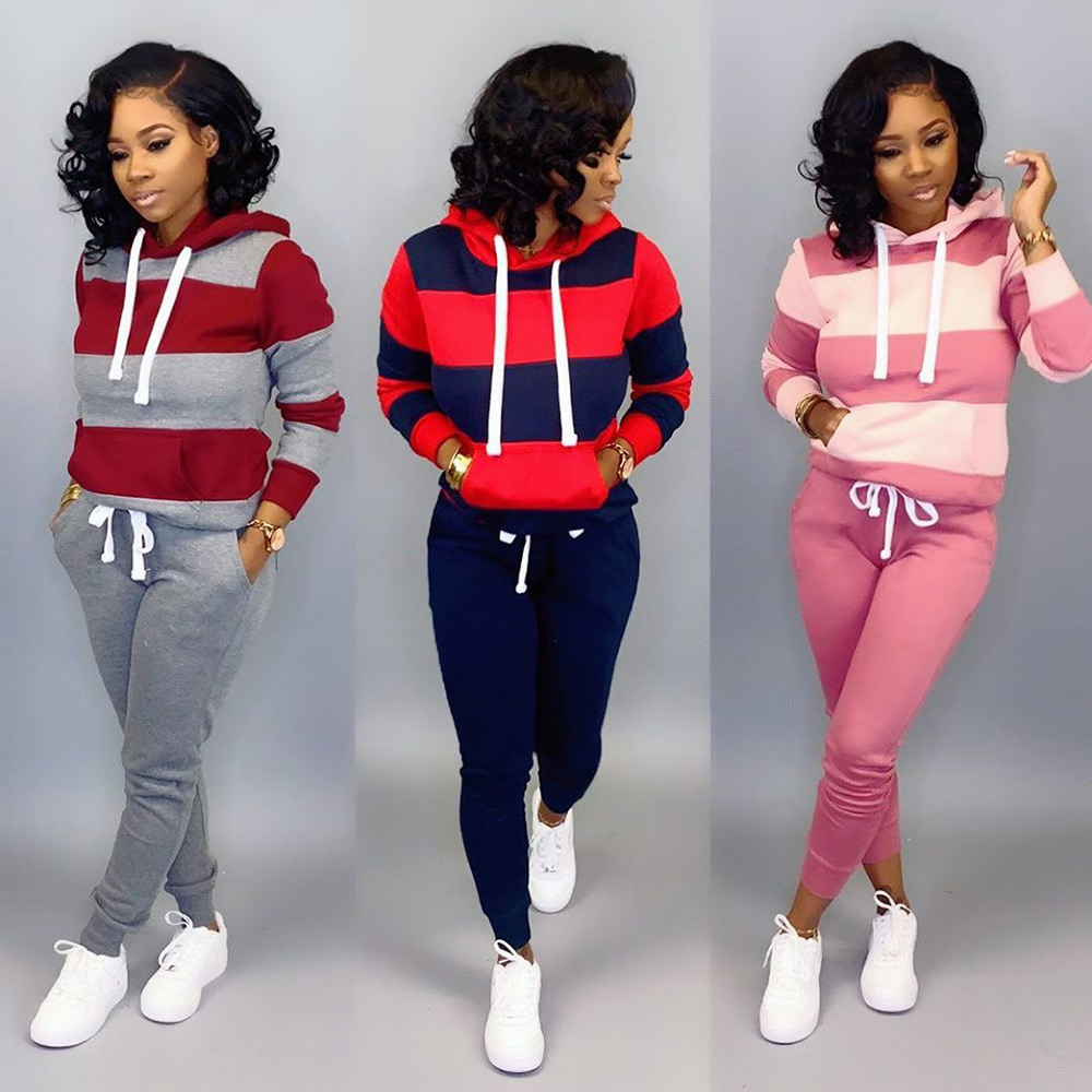 Wjustforu Patchwork Sporting Hooded Tracksuit Women Long Sleeve Pullover + Casual Pants Female Winter Wool Warm 2 Piece Set Slim