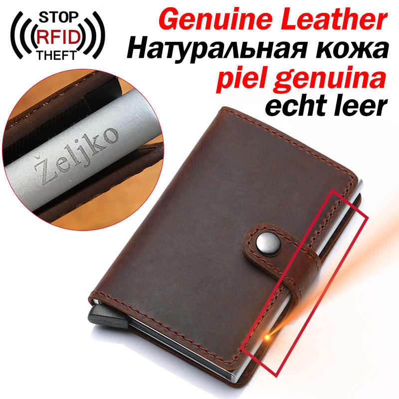 Genuine Leather Men ID Card Holder Hasp RFID Blocking Men Wallet Credit Card Holder Bank Fashion Wallets Purse for Women Cards