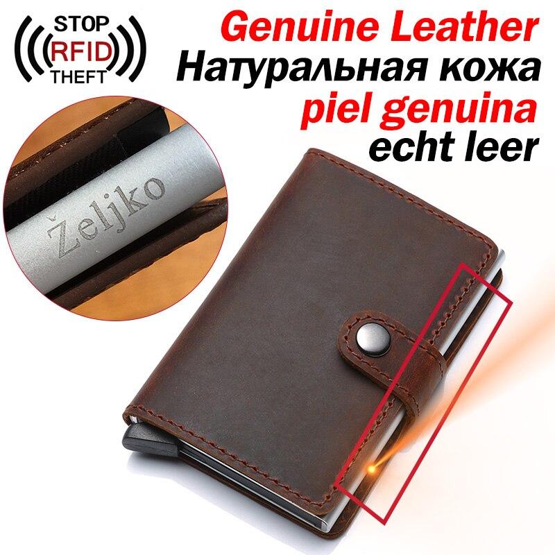 Genuine Leather Men ID Card Holder Hasp RFID Blocking Men Wallet Credit Card Holder Bank Fashion Wallets Purse For Women Cards